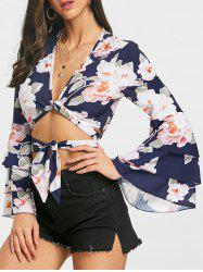 Layered Bell Sleeve Floral Crop Blouse -