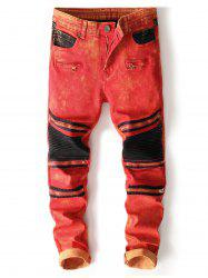 Color Block Zipper Biker Jeans -