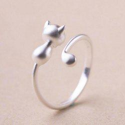 Alloy Kitten Open Adjustable Ring -