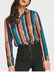 Color Block Stripe Satin Work Shirt -