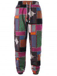 Ethnic Print Drawstring Waistband Pants -