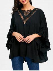 Lace Insert Batwing Sleeve Tunic Blouse -