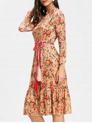Floral Flounce Velvet Midi Dress -