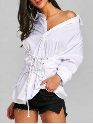 Front Lace Up Tunic Blouse -