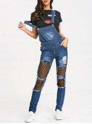Distressed Fishnet Insert Denim Jumpsuit -