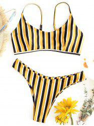 Striped Thong Bikini Swimsuit -