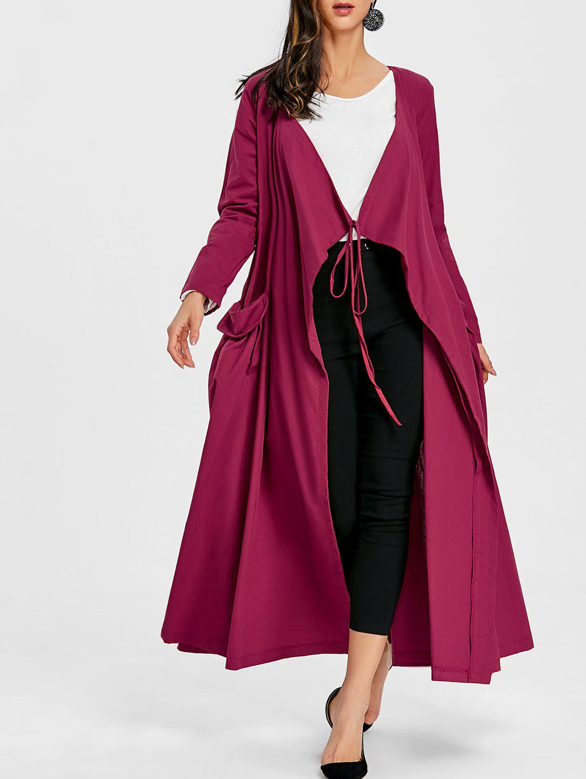 Affordable Side Pocket Drape Maxi Coat