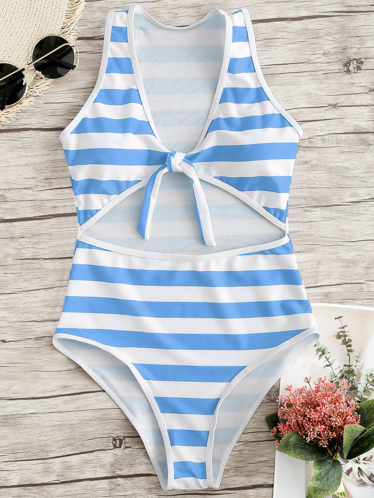 1f7c58d8c8 45% OFF   2019 High Leg Stripe One Piece Swimsuit