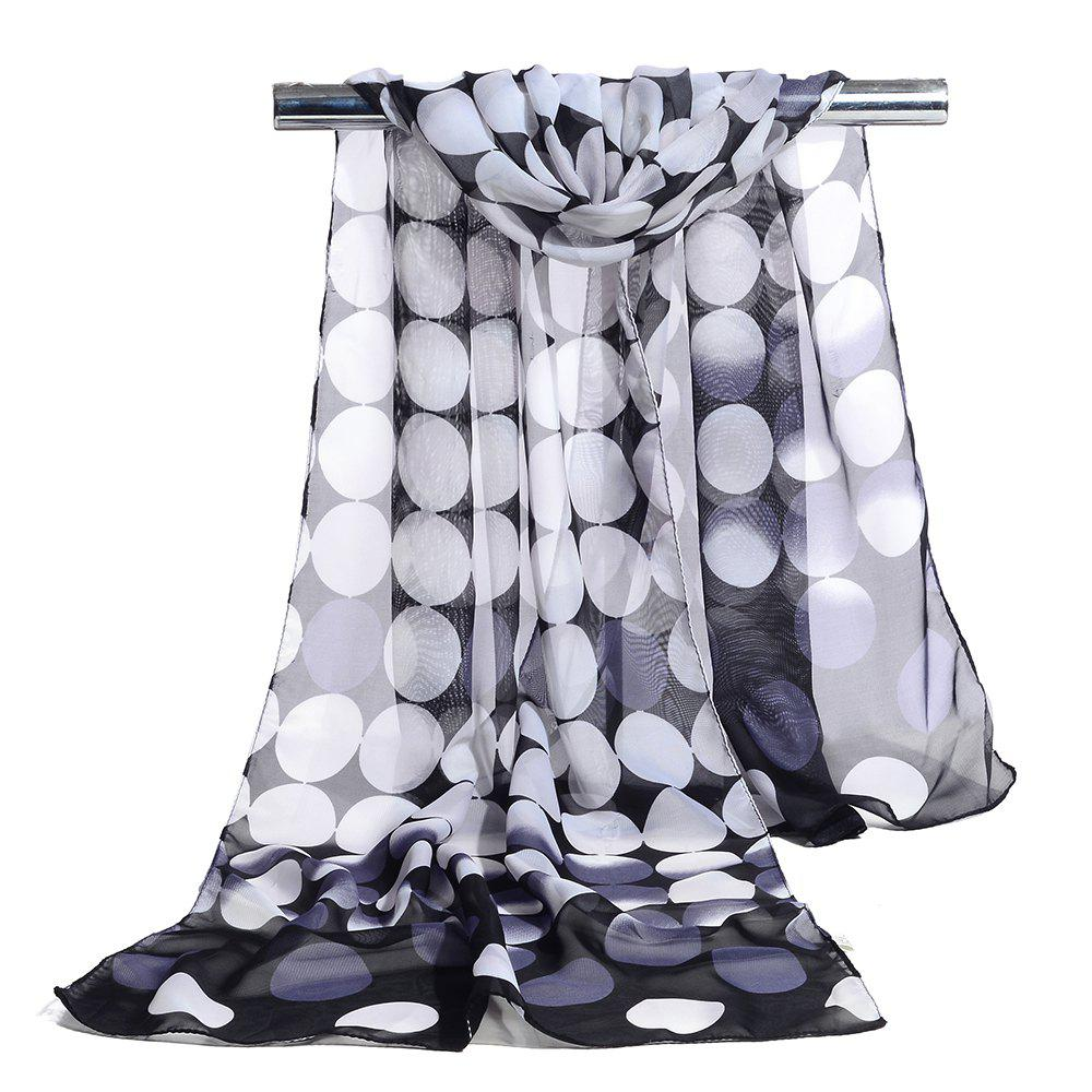 Fancy Polka Dot Printed Chiffon Silky Scarf