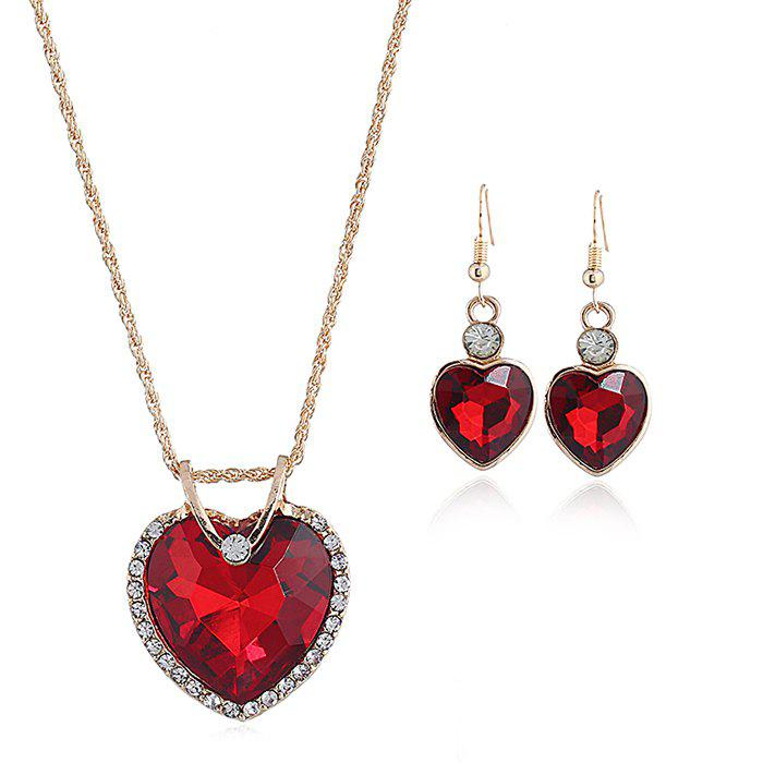 Online Faux Crystal Cubic Heart Pattern Necklace and Earrings Set