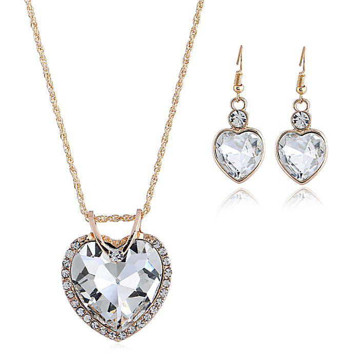 Unique Faux Crystal Cubic Heart Pattern Necklace and Earrings Set
