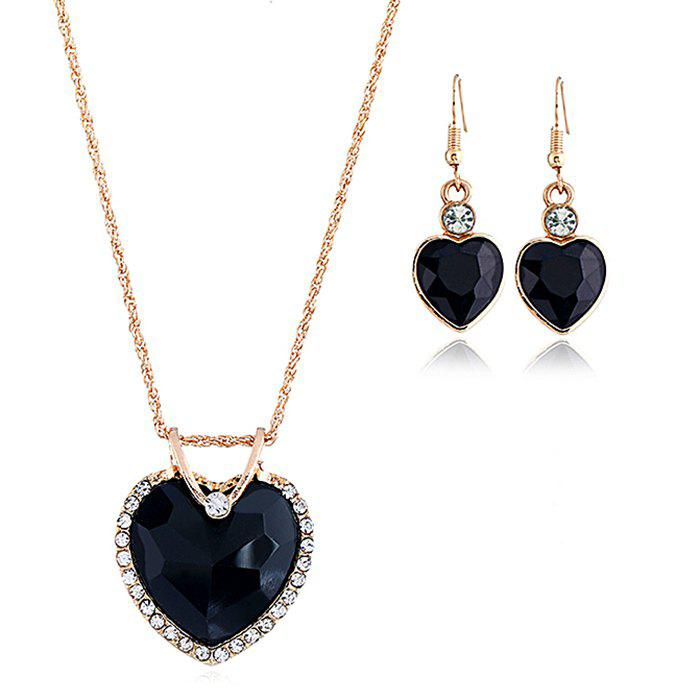Outfit Faux Crystal Cubic Heart Pattern Necklace and Earrings Set