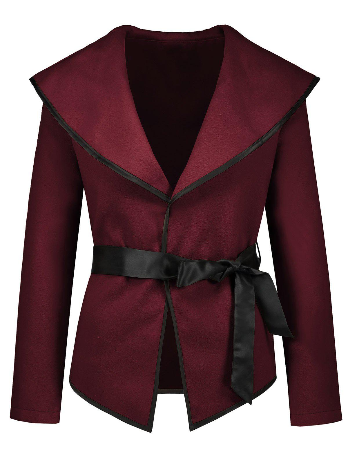 Affordable Turn Down Collar Jacket with Belt