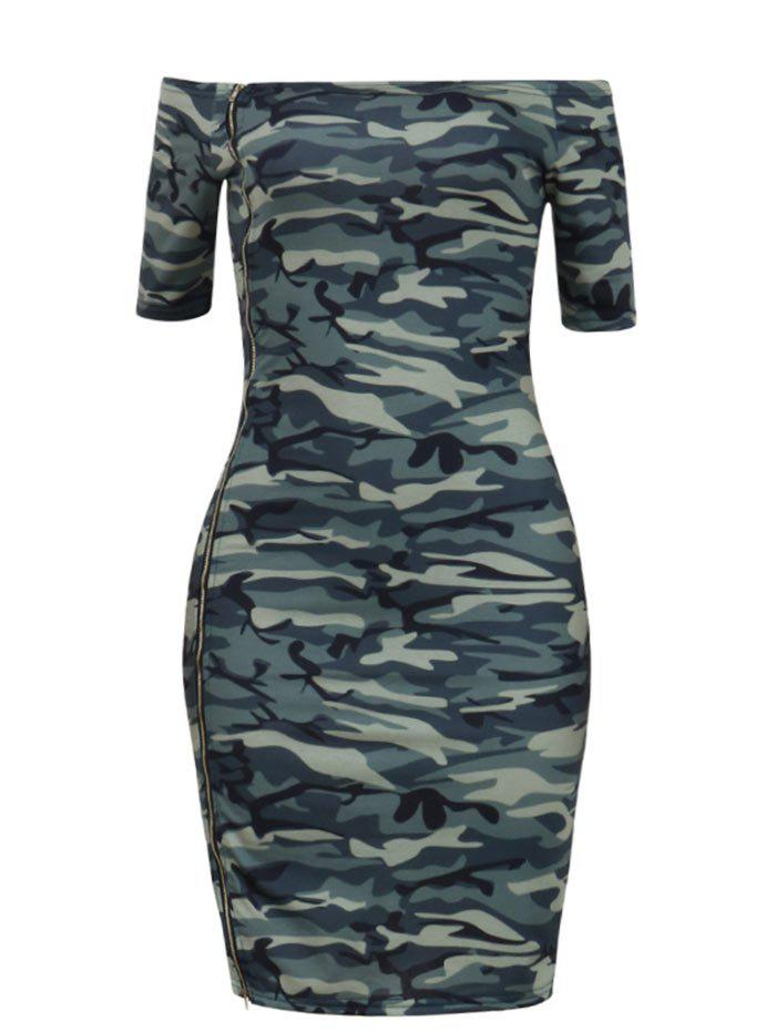 Trendy Camouflage Off The Shoulder Bodycon Dress
