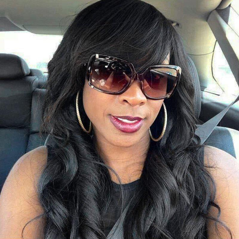 Chic Long Inclined Bang Wavy Human Hair Wig