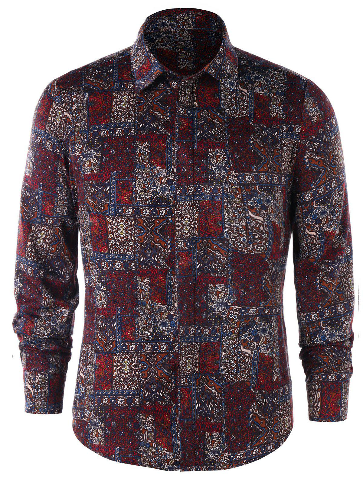 Cheap Long Sleeve Tiny Floral Shirt