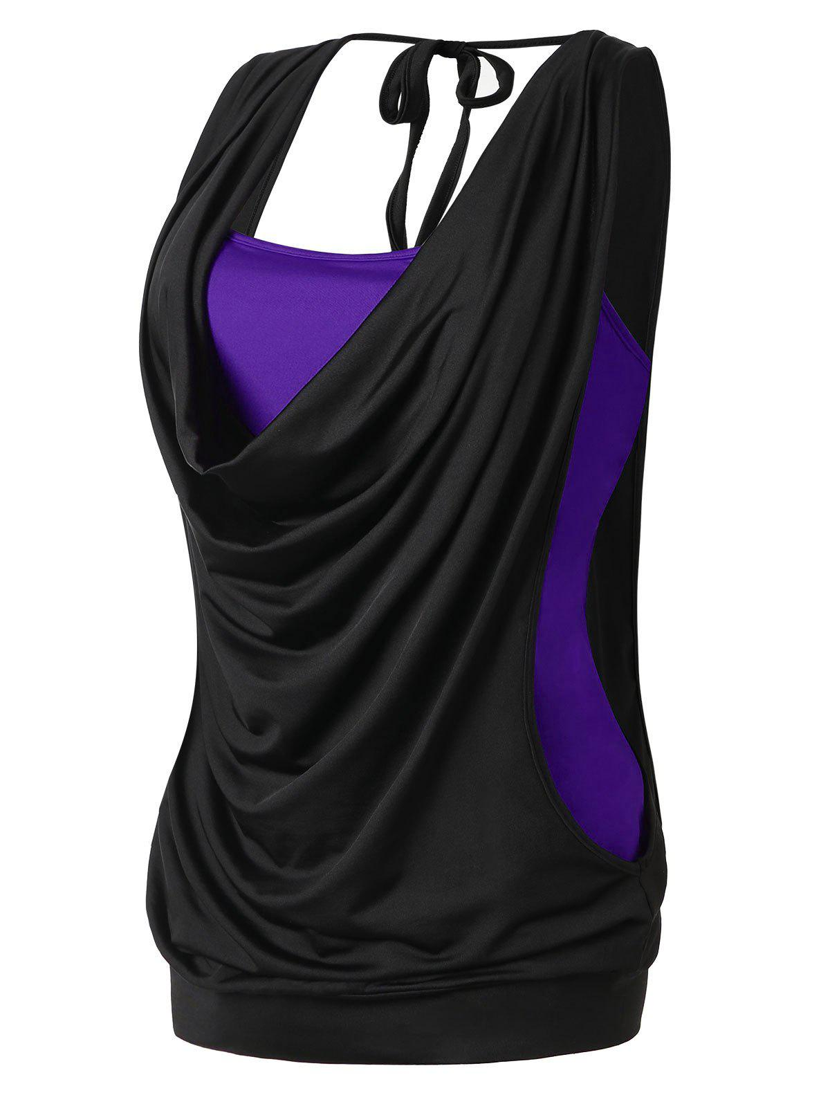 Buy Plus Size Cowl Neck 2 in 1 Tank Top