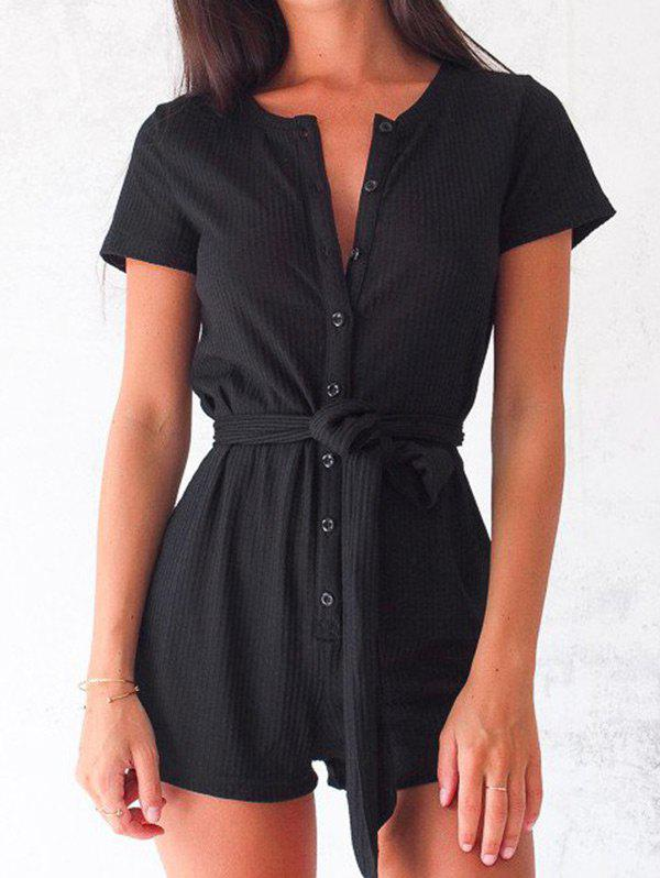 Hot Button Up Romper with Belt