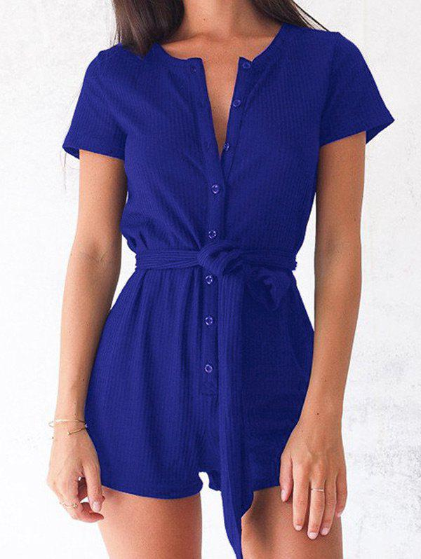 Buy Button Up Romper with Belt