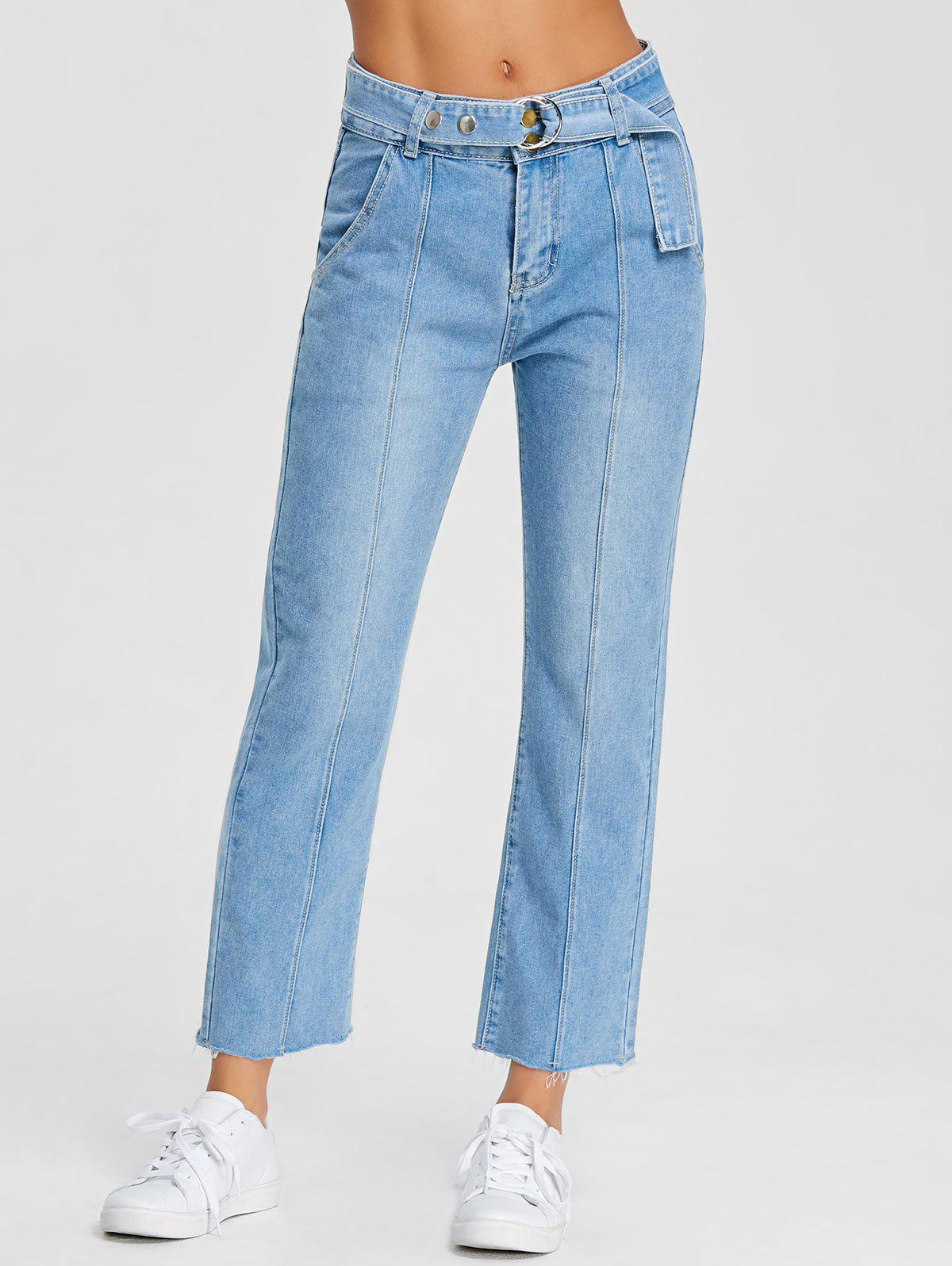 Cheap Raw Hem Wide Leg Belted Jeans