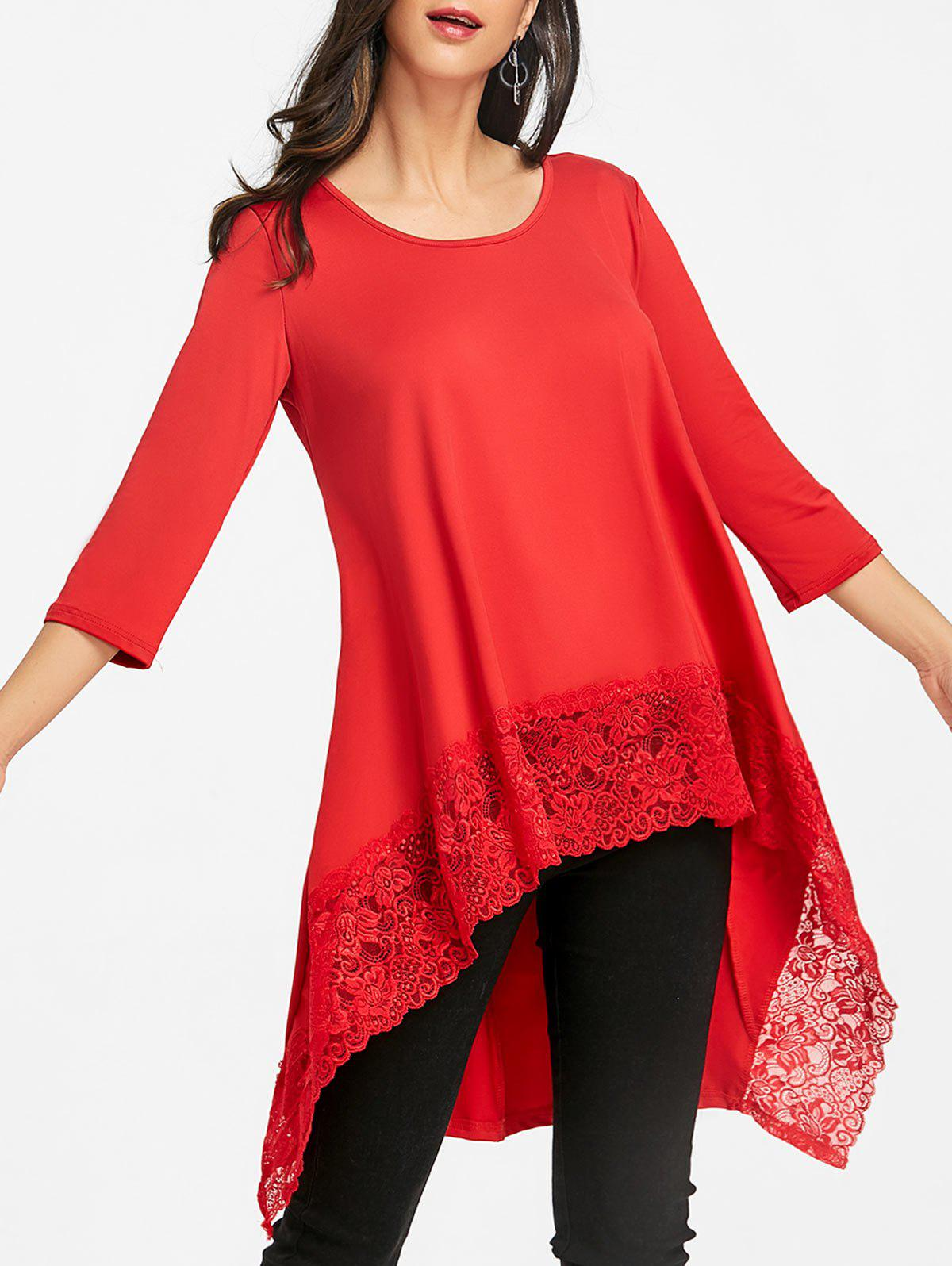 Latest Lace Trimmed High Low Blouse