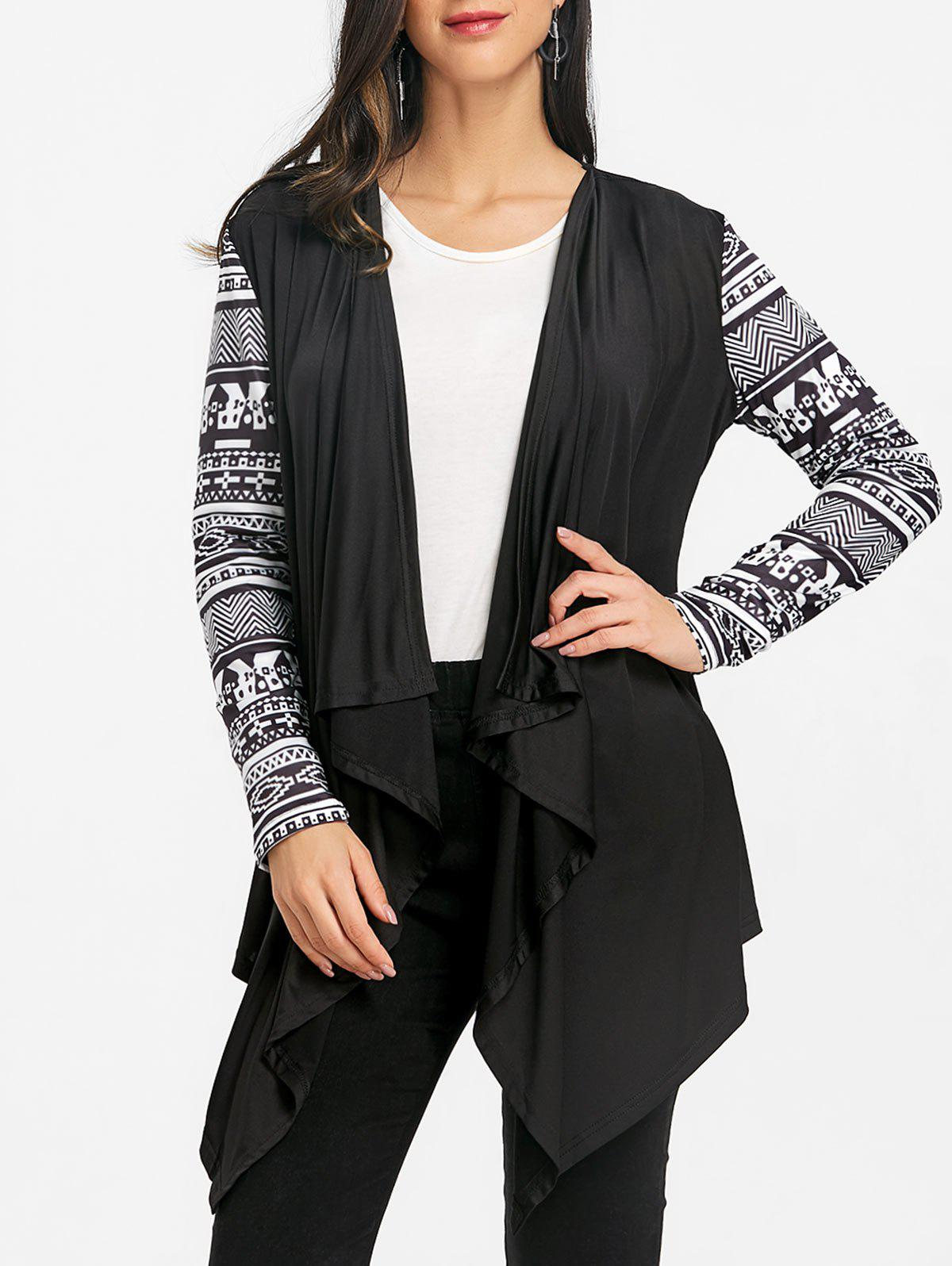 Best Ethnic Print Sleeve Asymmetric Drape Cardigan