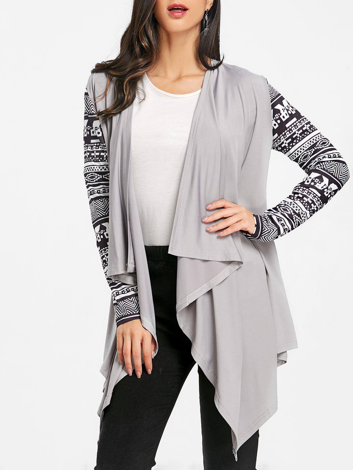 Latest Ethnic Print Sleeve Asymmetric Drape Cardigan
