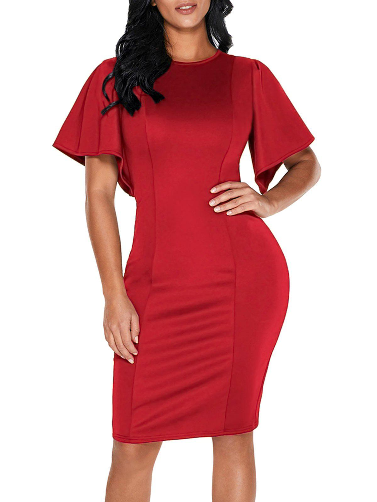 Latest Short Bell Sleeve Knee Length Bodycon Dress