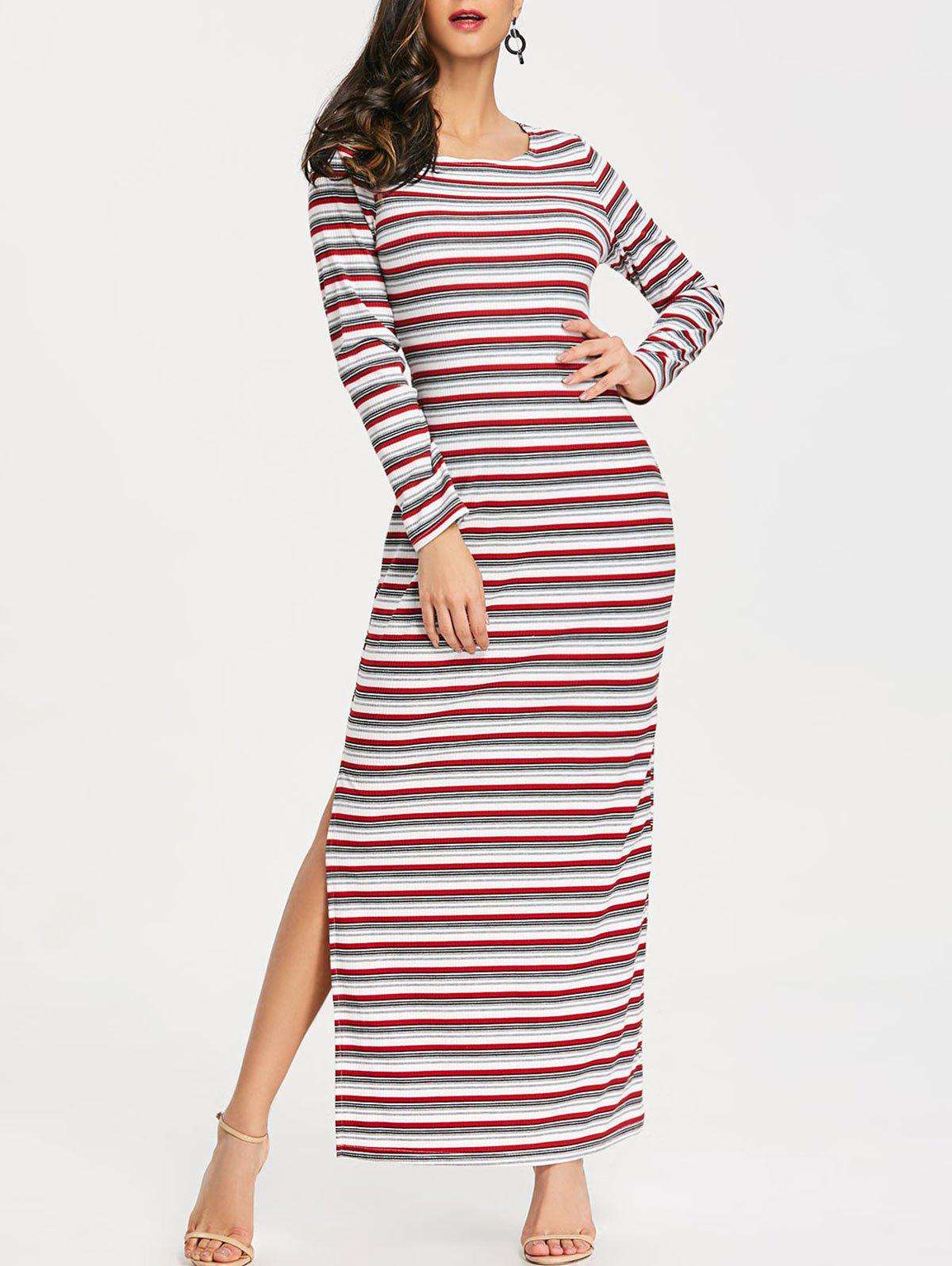 Outfits High Slit Striped Maxi Dress