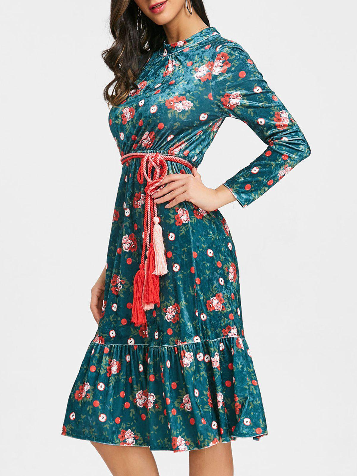 New Floral Flounce Velvet Midi Dress