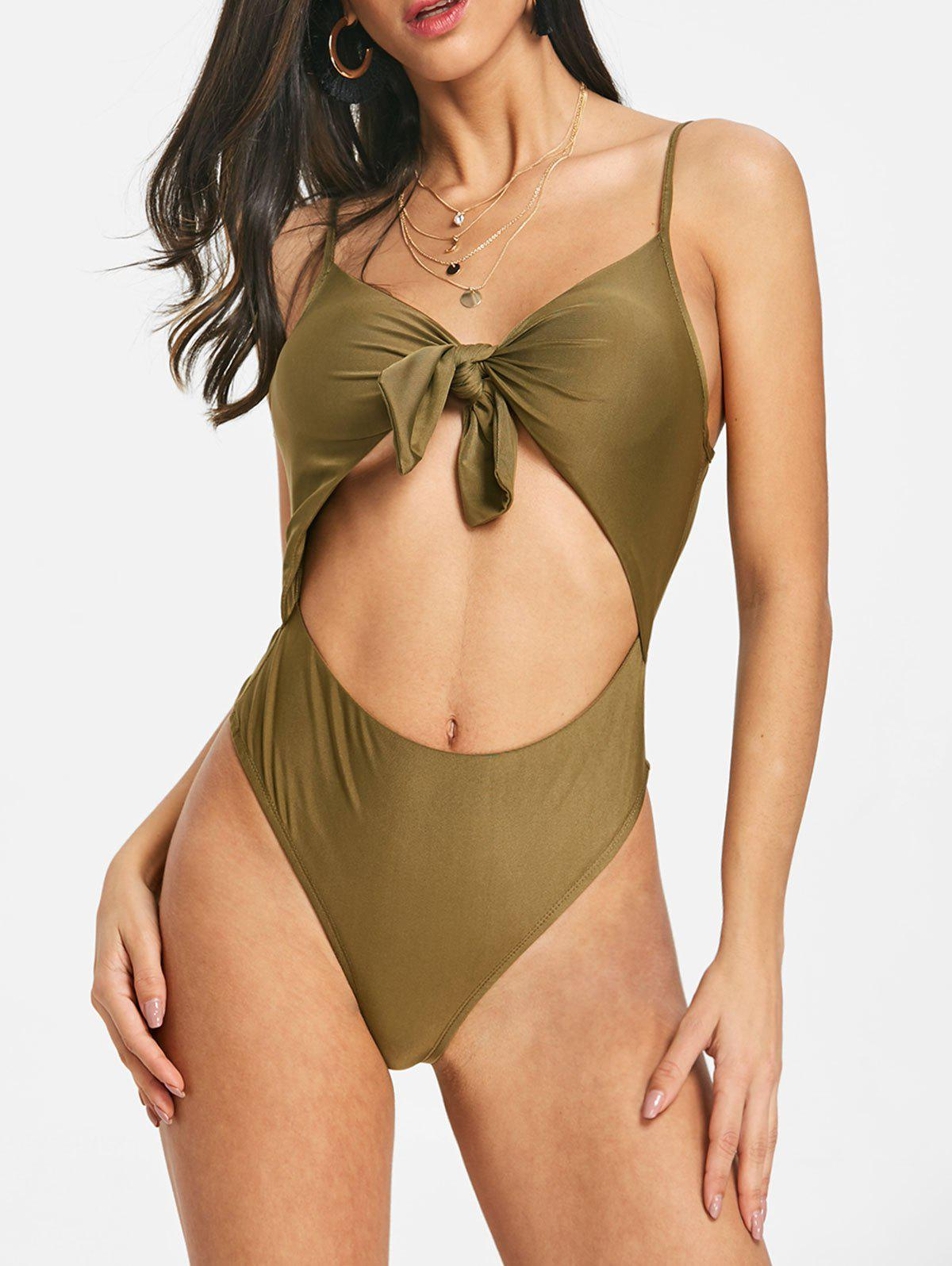 Store Cut Out Knot Front Spaghetti Strap Bodysuit