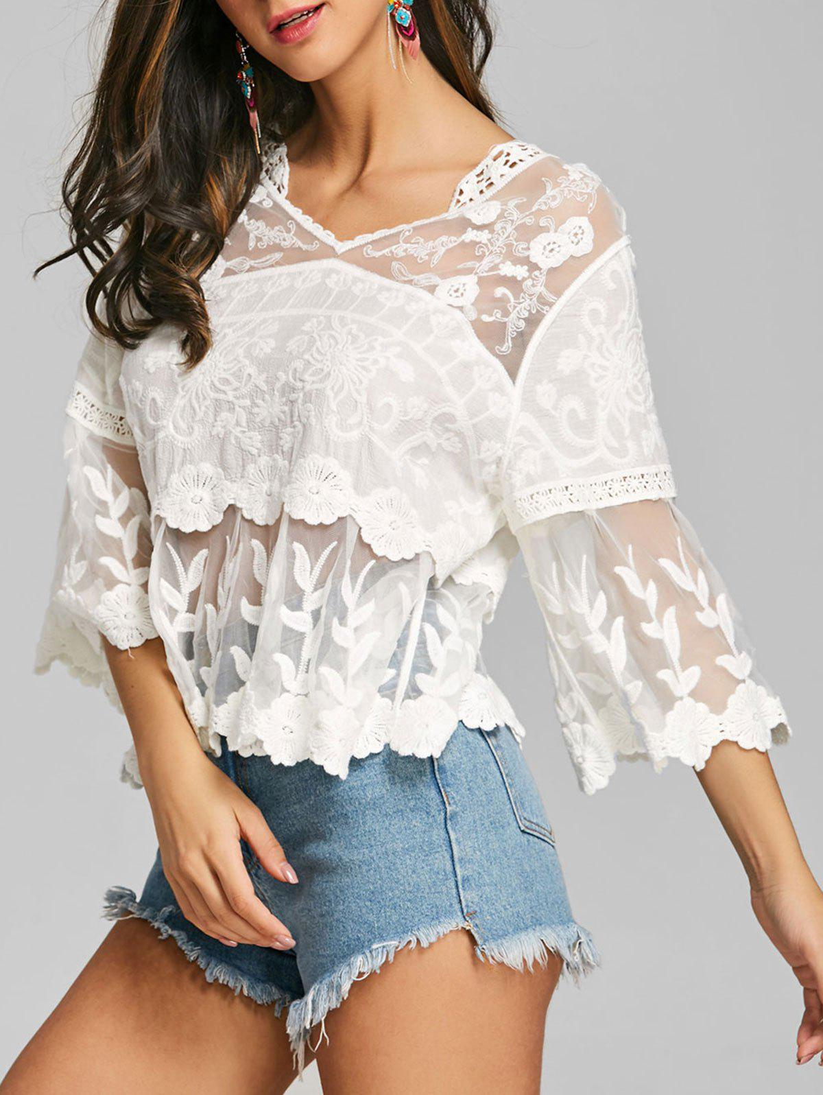 Latest See Through Mesh Insert Embroidered Blouse
