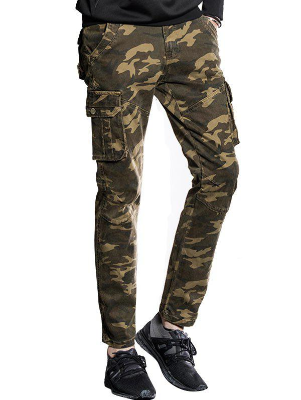 Online Slim Fit Multi Pockets Camo Cargo Pants