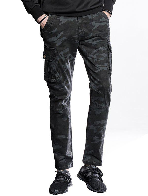Sale Slim Fit Multi Pockets Camo Cargo Pants