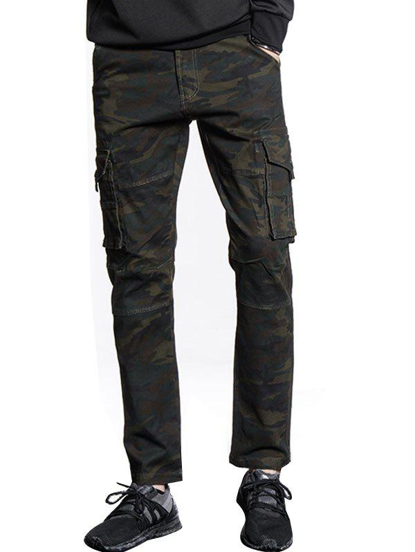 Online Button Pockets Slimming Camouflage Cargo Pants