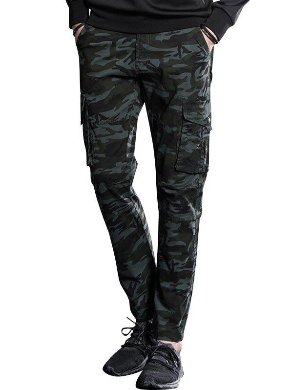 Shop Button Pockets Slimming Camouflage Cargo Pants