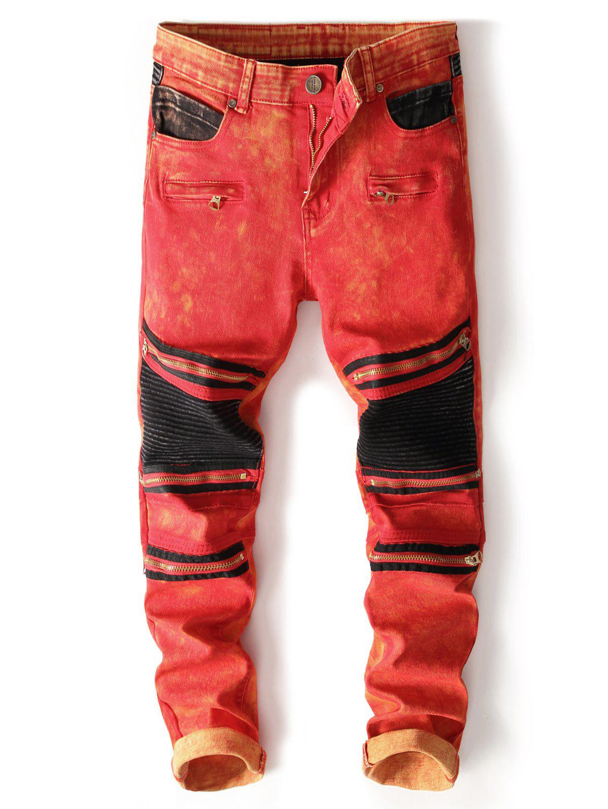 New Color Block Zipper Biker Jeans