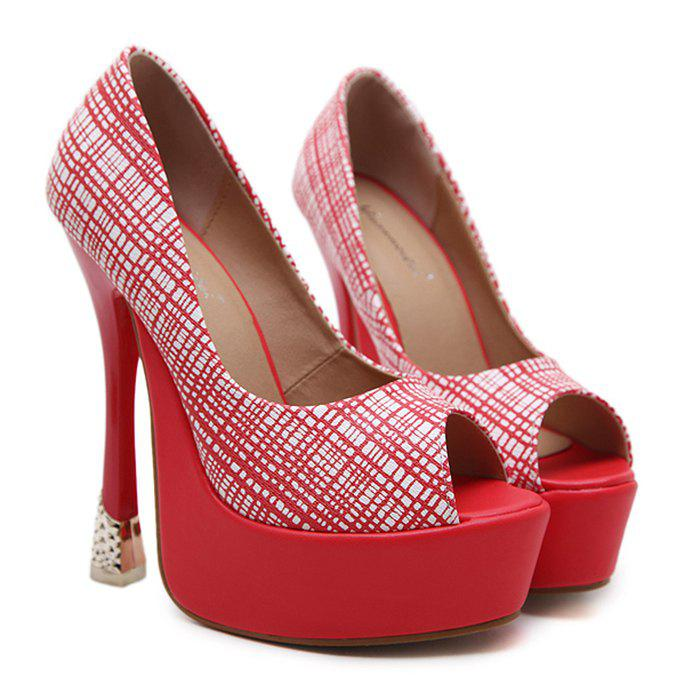 Buy Checkered Peep Toe Platform Pumps