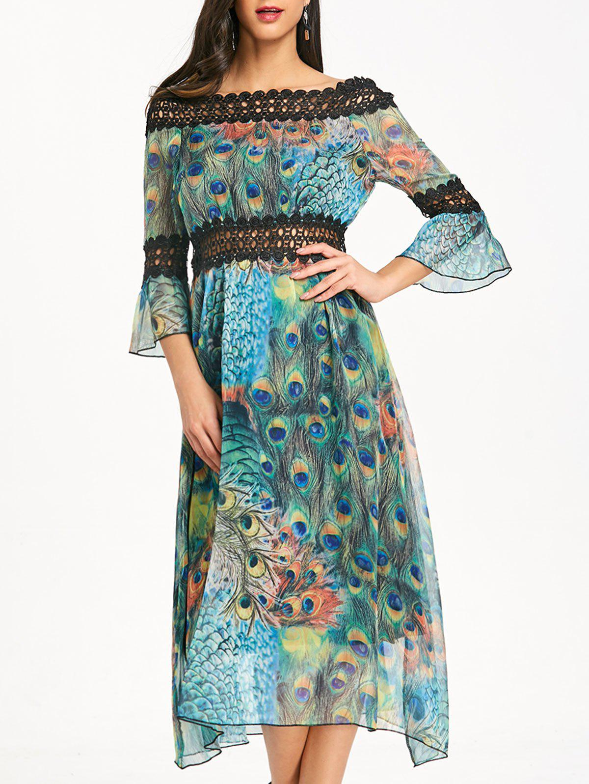 Latest Bell Sleeve Printed Off The Shoulder Midi Dress