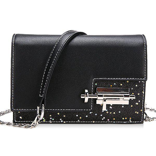 Trendy Chain Flap Sequined Crossbody Bag