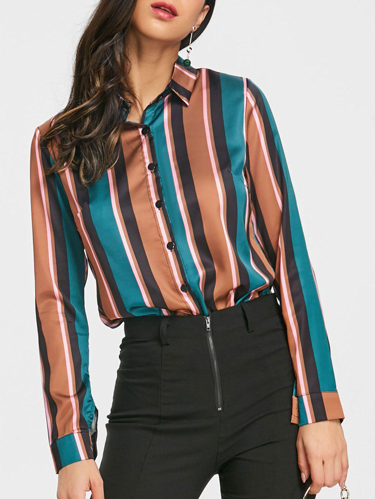 Cheap Color Block Stripe Satin Work Shirt
