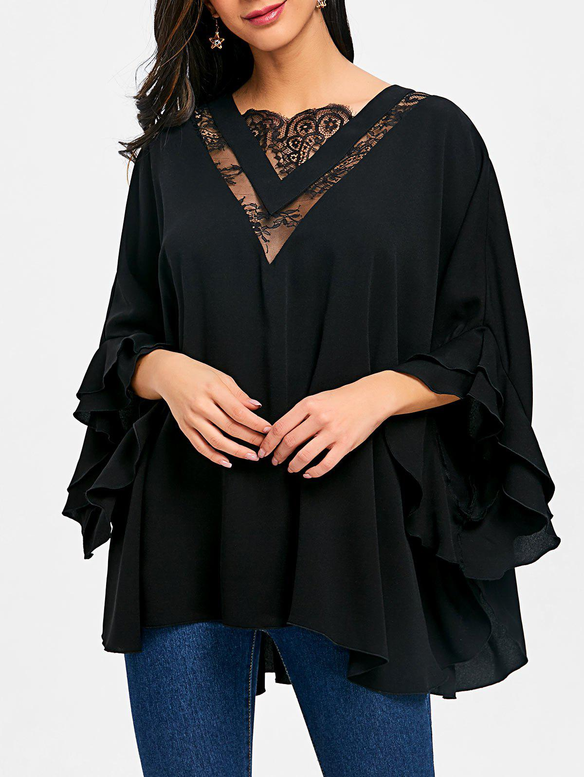 Online Lace Insert Batwing Sleeve Tunic Blouse