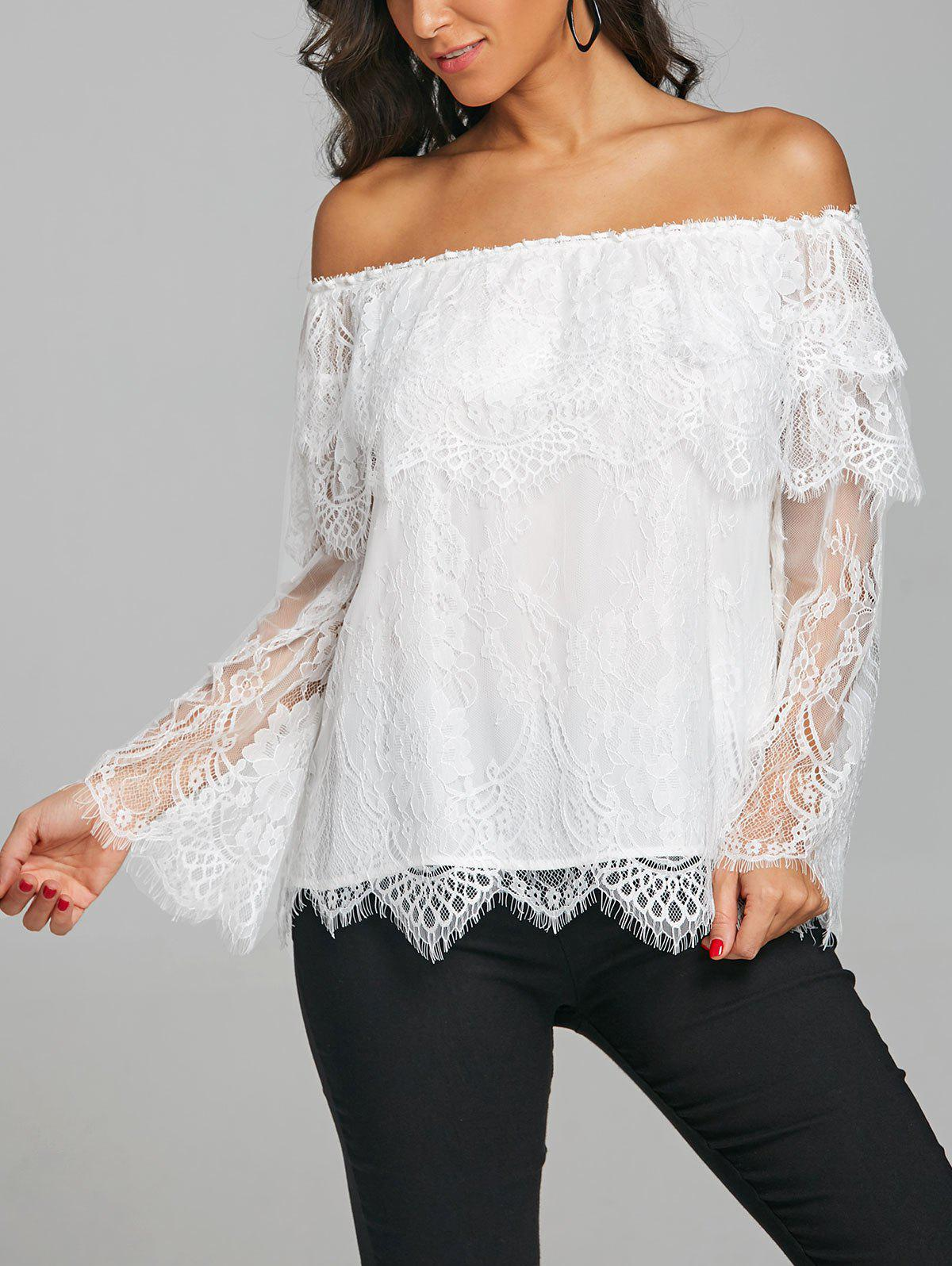 Hot Tiered Off The Shoulder Lace Blouse