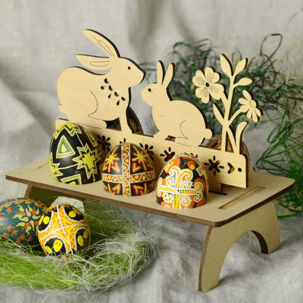 Online Bunny Shape Embellished Wooden Easter Egg Holder