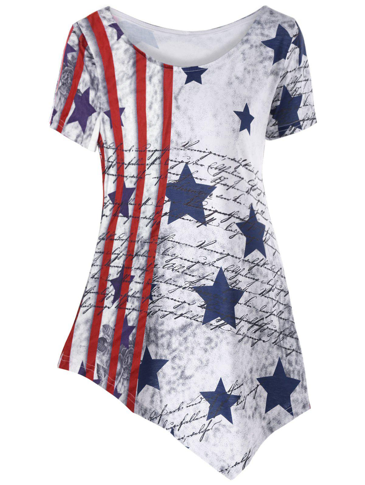 Shops American Flag Asymmetric T-shirt