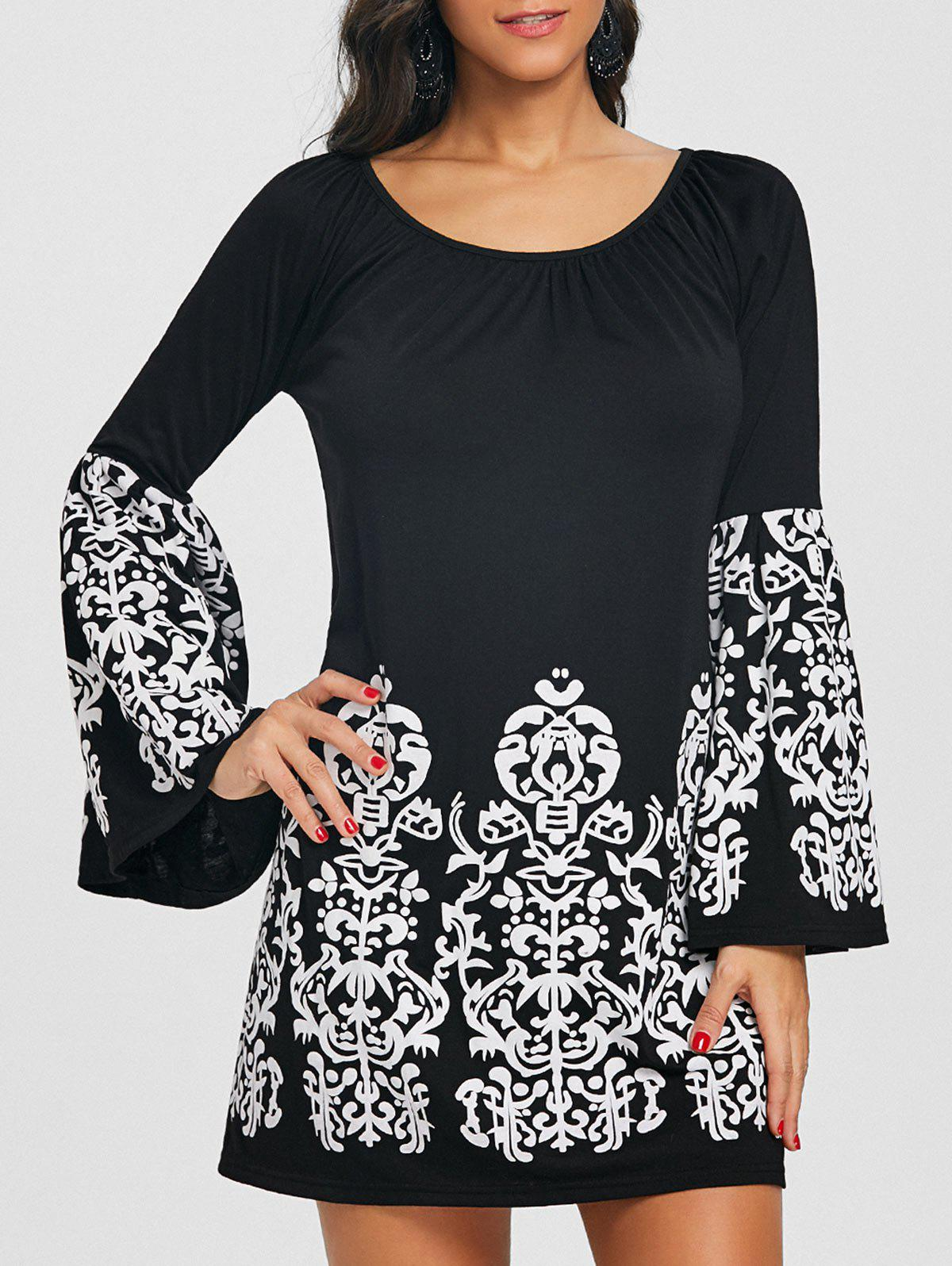 Affordable Flare Sleeve Boat Neck Ethnic Print Dress
