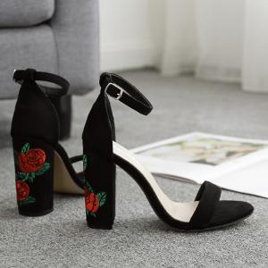 Floral Embroidered Detail Block Heel Sandals -