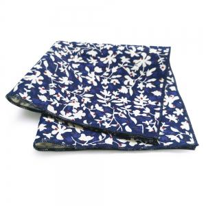 Simple Floral Pattern Printed Necktie and Handkerchief -