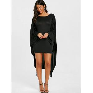 Batwing Sleeve Capelet Bodycon Dress -