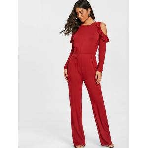 Cold Shoulder Wide Leg Jumpsuit -
